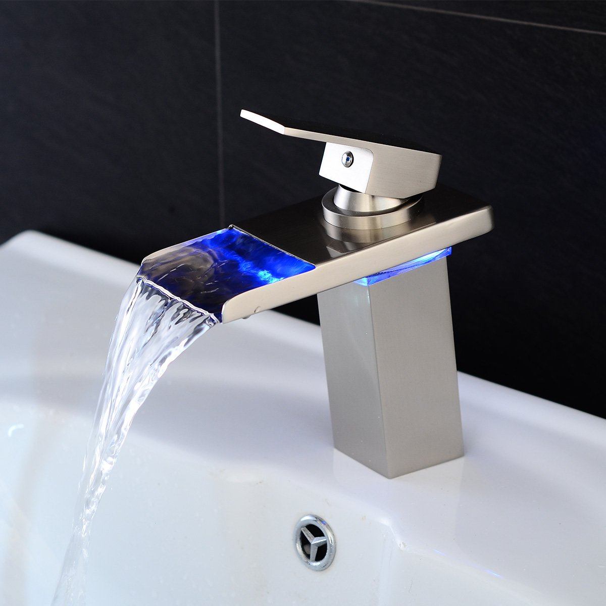 Sprinkle Stylish Single Handle Nickel Brushed LED Waterfall Bathroom Sink Faucet LED Colors Changing Tap Temperature Control Light