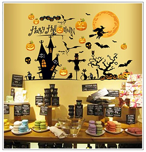 Happy Halloween Pumpkin Wall Decals Removable Wall Stickers Halloween Festival Window Home (Happy Skeleton Costume)