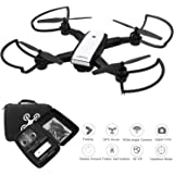 Eloka GPS Auto Return Drone with 1080P Remote Adjustable Camera, 2.4G WIFI FPV Foldable RC Quadcopter with Waterproof Carrying Bag, Smart Follow , 3D VR Mode, One Key Take off/ Land