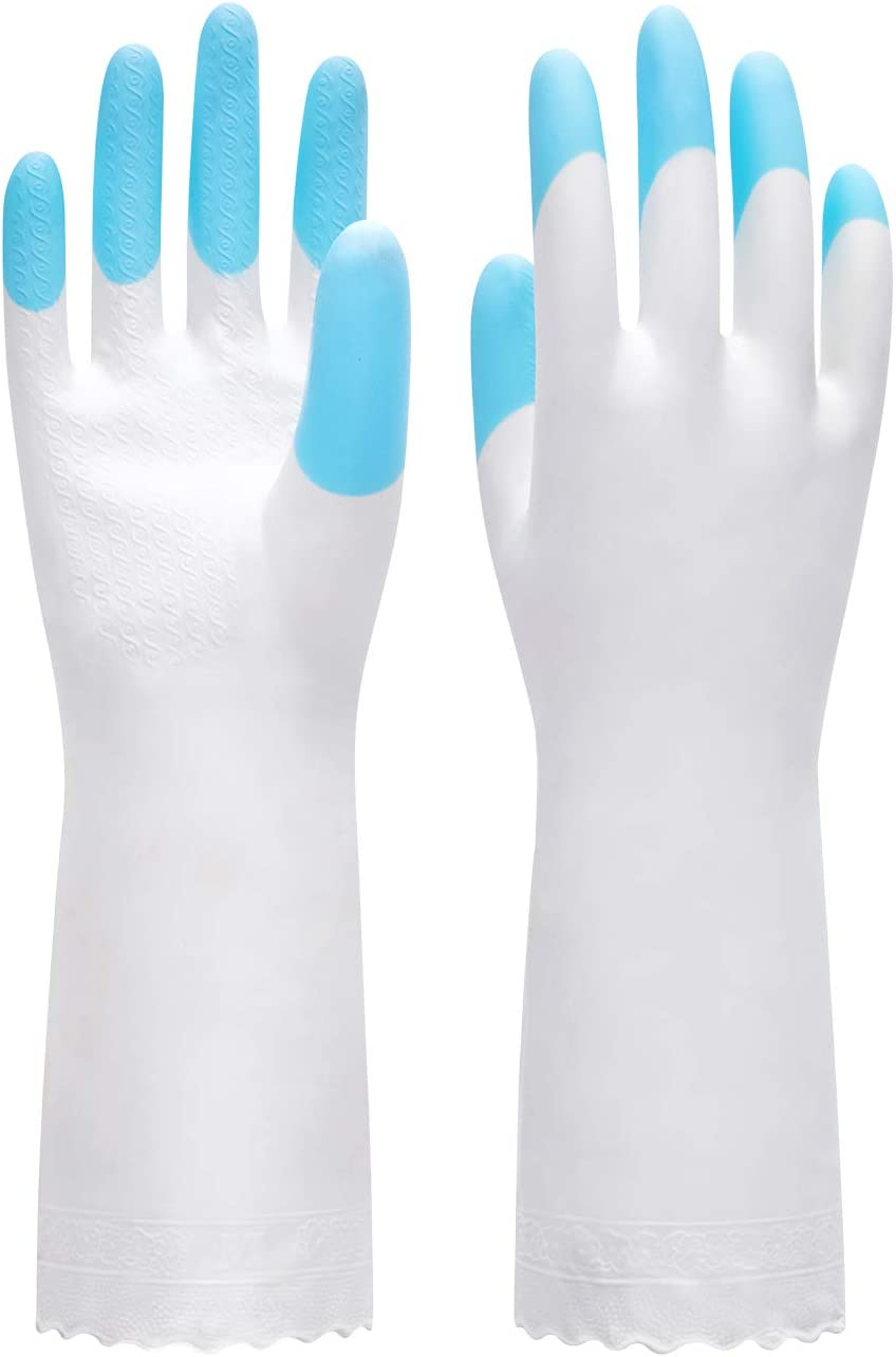 Pacific PPE Cleaning Glove Reusable Household Dishwashing Gloves-Latex Free Waterproof PVC Gloves for Kitchen,Gardening Gloves Unlined(Blue,M)