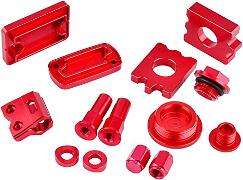 NICECNC Replace Honda CRF250R 2010-2018,CRF450R 2002-2018 Rim Lock Nuts Tire Valve Stem Caps Axle Block,Crankcase Oil Filler Plug Brake Line Clamp Rear Brake Reservoir Cover Master Cylinder Cap Set
