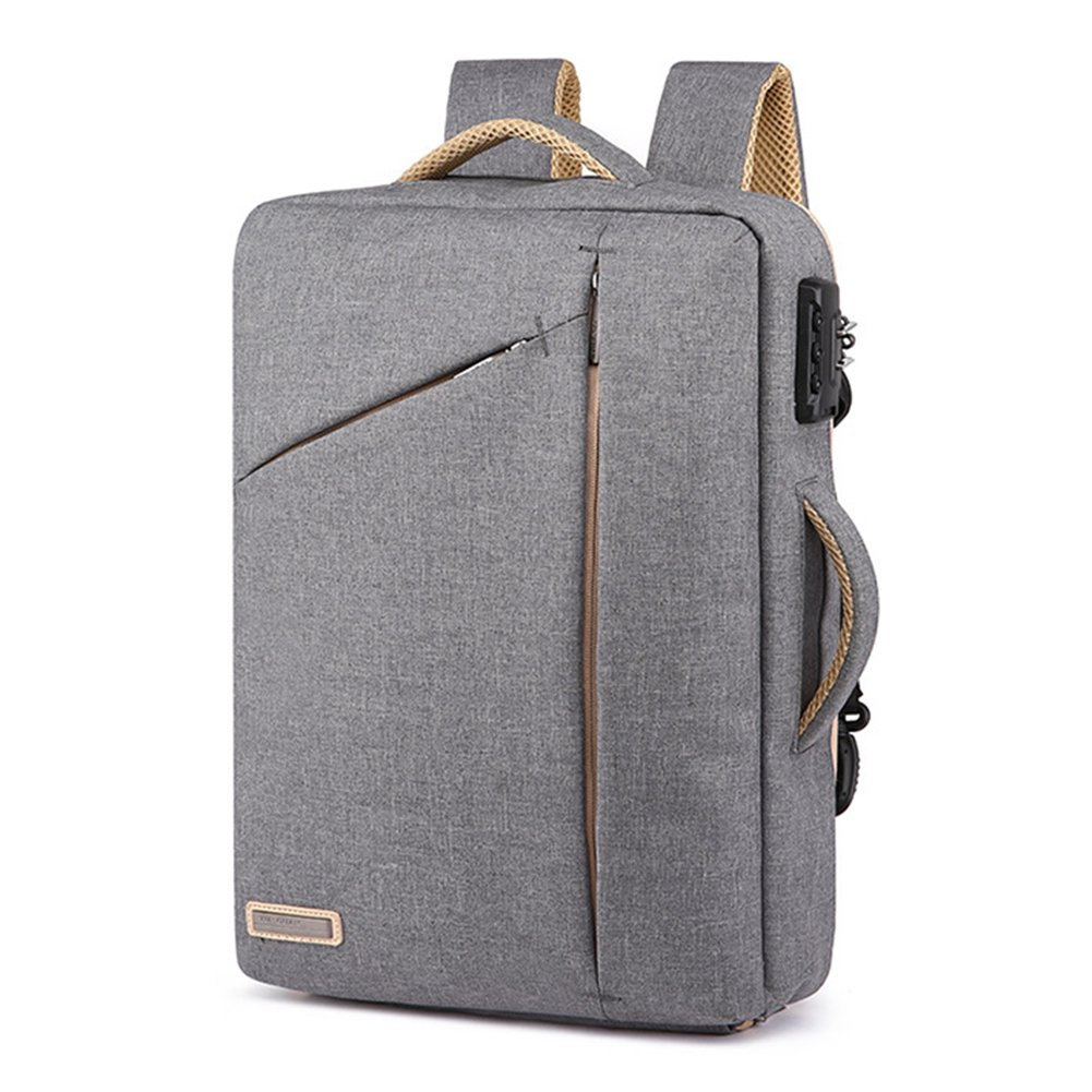 15.6 Inch Business Laptop Briefcase Backpack Anti-Theft School Travel Bag Work Handbag Convertible (Gray)
