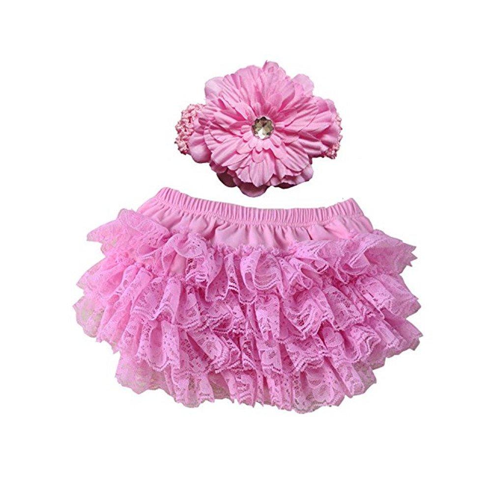 EQLEF® Soft Cotton Carino Lace Ruffle Bloomers Pannolino copre con fascia del fiore per il bambino (colore rosa)