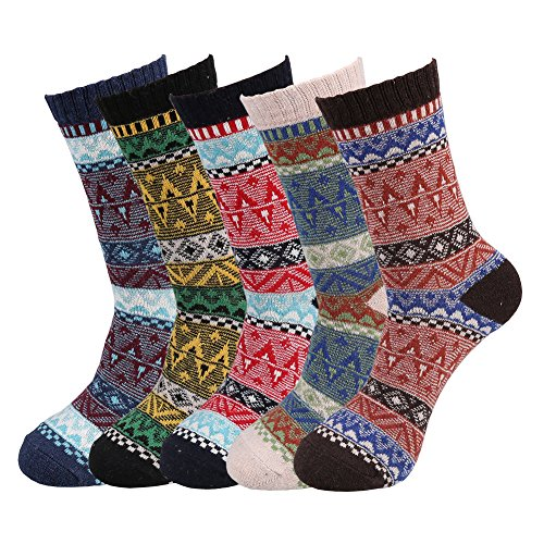 Fantastic Zone 5 Pairs Fashion Men Socks Winter Soft Warm Thick Knit Wool Crew Socks for Man Radio Stripe One Size (6-11)