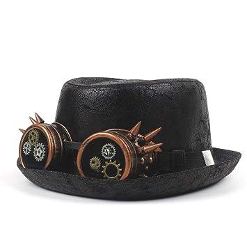 Gorras Sombreros Sombrero de Fedora de Piel Unisex para Hombres Mujeres Sombreros de Invierno Color sólido Lana Negro Sombrero Noble Pañuelos para el ...