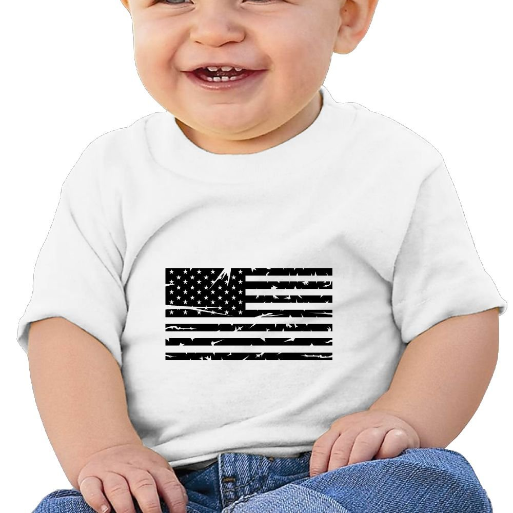 REBELN Distressed American Flag Cotton Short Sleeve T Shirts for Baby Toddler Infant
