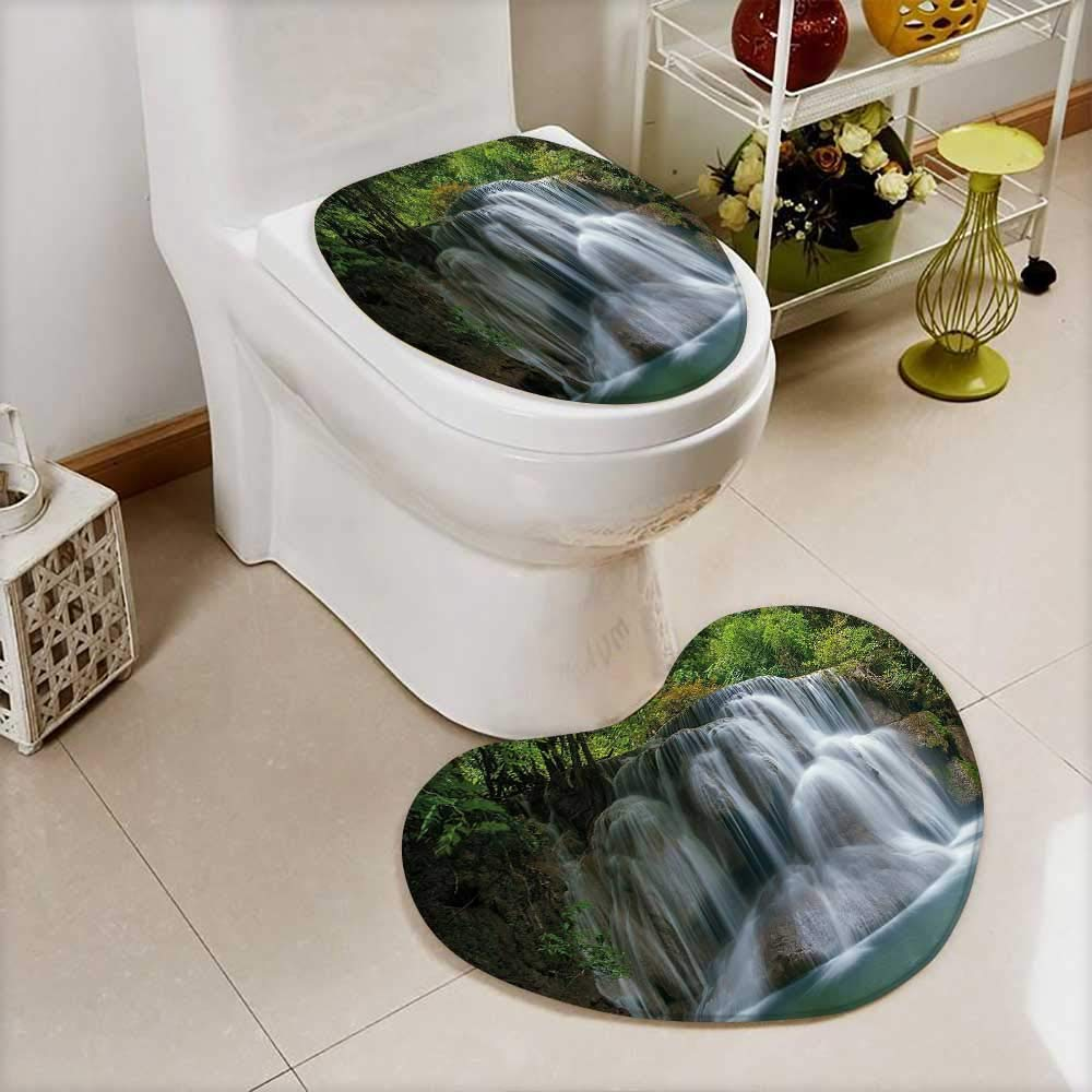 vanfan Heart shaped foot pad 2 Pieces Set Waterfall with Green Thai Exotic Bushes each side Artwork Green in Bathroom toilet Mats