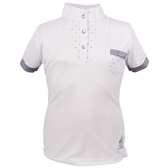 QHP Camiseta para niña Junior de Manga Corta Cuello Blanco Perla ...