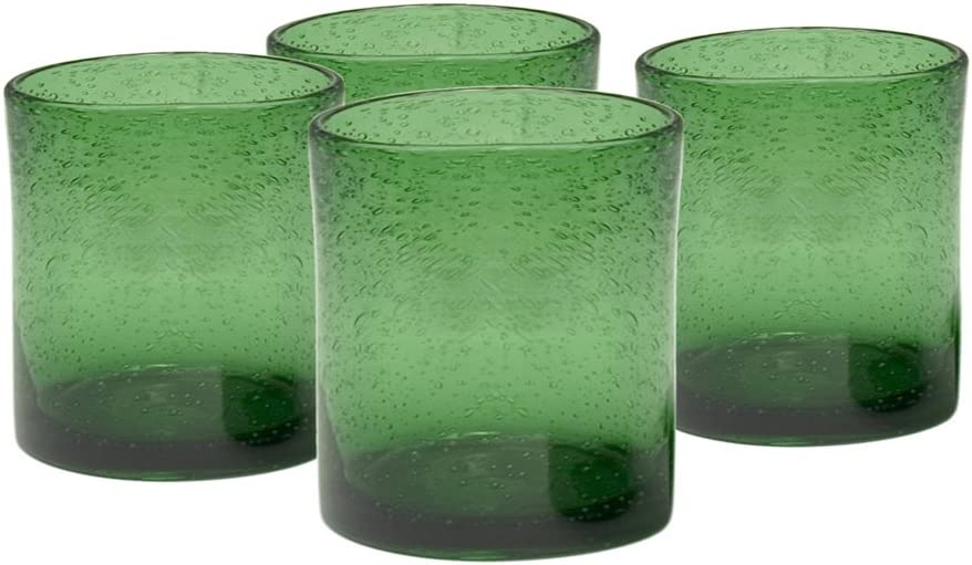 Artland Iris Double Old Fashioned Glasses, Green, Set of 4