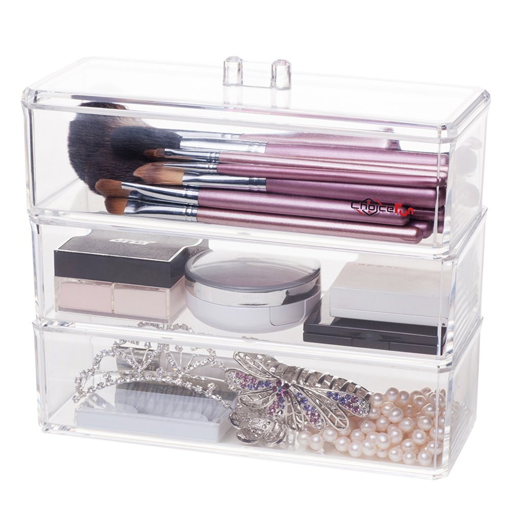 Choice Fun 3 Tiers Clear Acrylic Cosmetic Organizer Holder with Lid