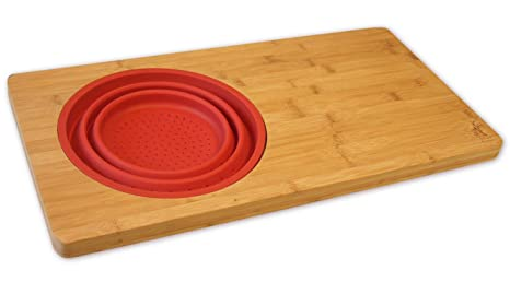 Beau Over The Sink 18 Inch Bamboo Cutting Board With Colander, Fits Over
