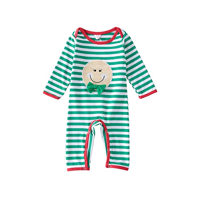 ac12d7a6b91f Fairy Baby Toddler Baby Unisex Christmas Striped Romper Clothes Cotton  Smile Pajamas Size 6-9M