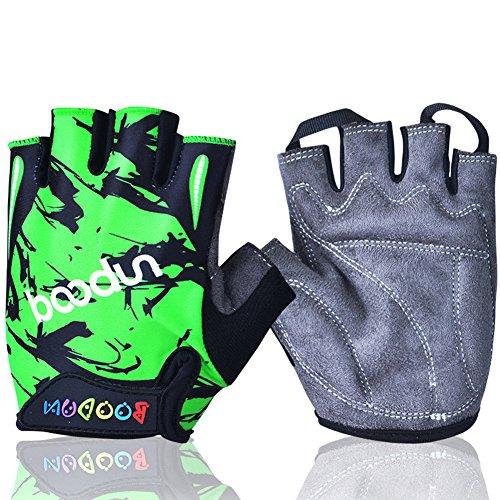 MIFULGOO BDHGF-H Boy Girl Child Children Kid Half Finger Fingerless Short Gloves for Cycling Skate Skateboard Roller Skating (Green, L)