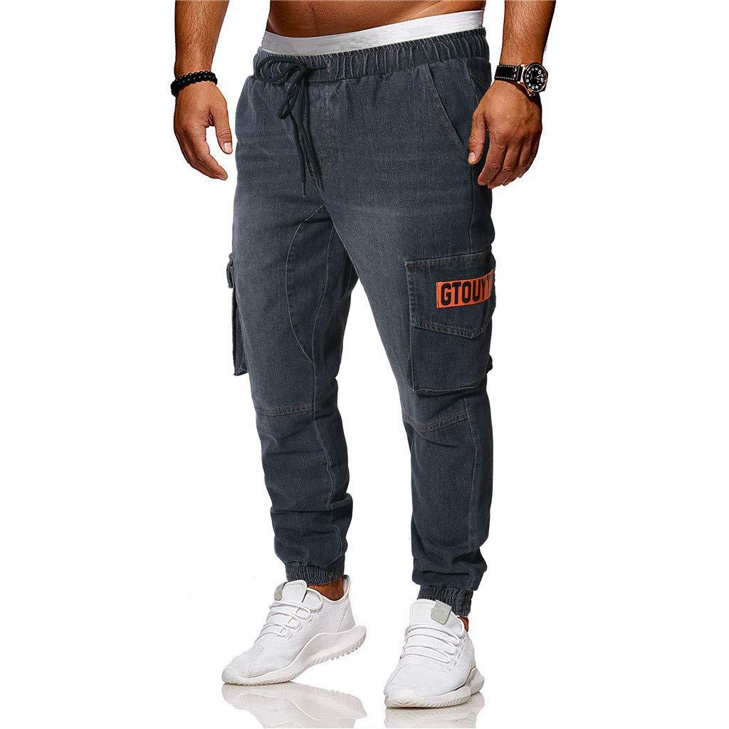 Sunyastor Jogger Cargo Men's Casual Trouser Outdoor Working Sweatpants Drawstring Elasticated Waist Outdoor Hiking Pants Black by Sunyastor men pants (Image #4)