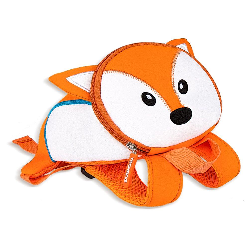 ZobiDobi 3D Zoo Toddler Backpack with Safety Harness for Baby Boy & Girl, Kids Preschool Bag Animal Backpack Snack Nursery Bag (Fox)