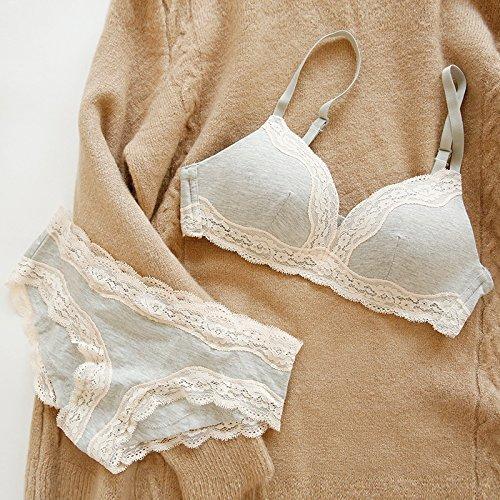 ZHFC-Cerca de la chica, el simple arte de encaje de algodón, borde, confortable y saludable, sin anillo, Thin Cotton sujetador, ropa interior L