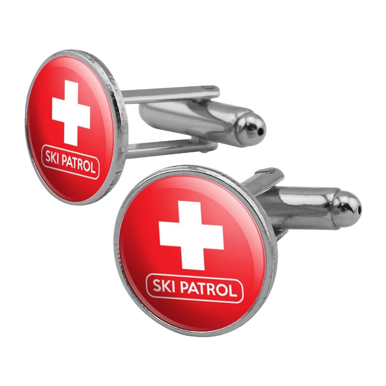 Ski Patrol with Cross Round Cufflink Set Silver Color