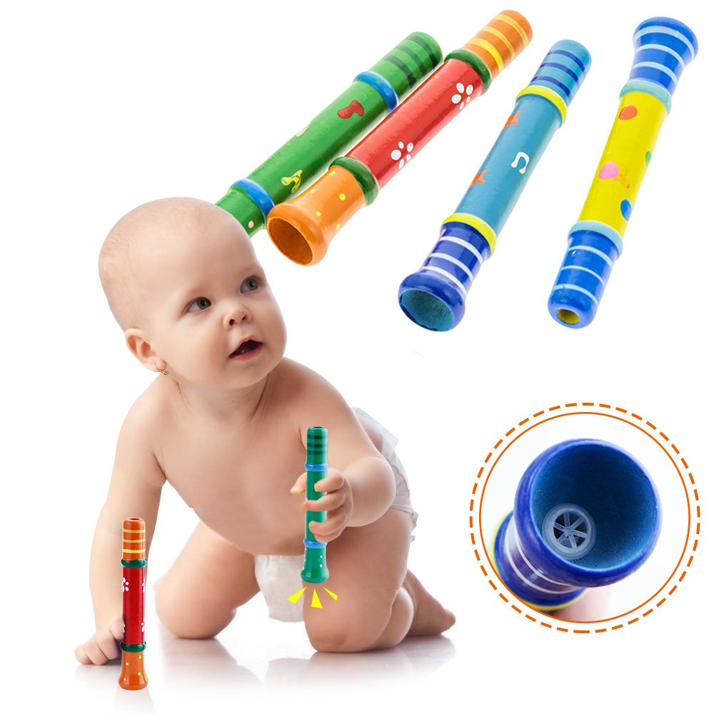 4 Piece Random Color Colorful Wooden Trumpet Buglet Hooter Bugle Educational Toys For Kids Children Toy Musical Instrument,Quality Wood Toys Gift for Boys Girls