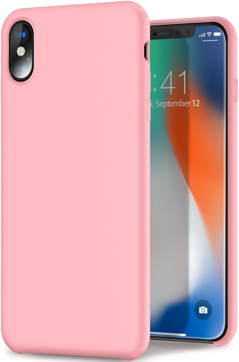 Imikoko iPhone Xs case, iPhone X case Liquid Silicone Gel Rubber Case with Soft Microfiber Cloth Lining Cushion Shockproof Bumper Cover for iPhone X (Pink)