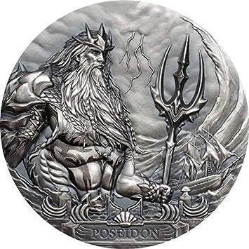 Poseidon Dios Mar Gods Of The World 3 Oz Moneda Plata 20 Cook