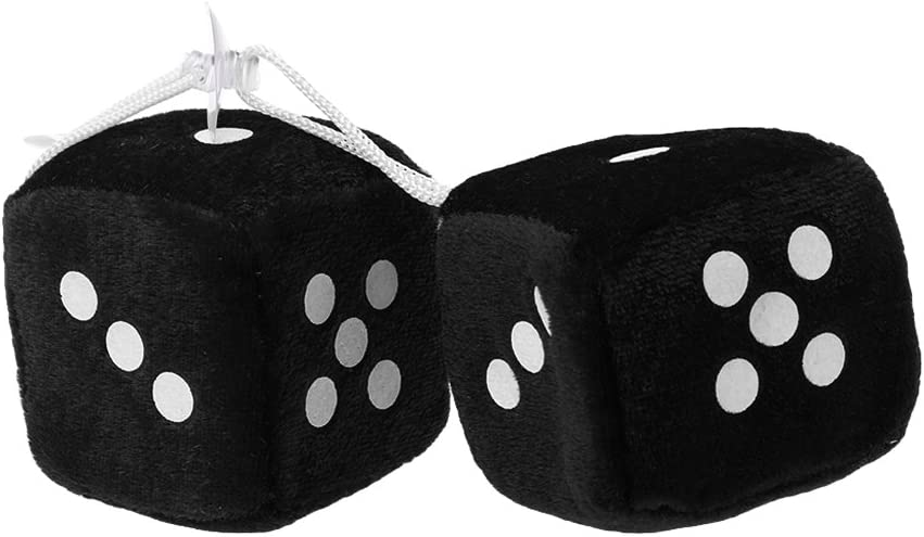 Xuniu 1 Pair Fuzzy Dice with Dots Rear View Mirror Hanger For Car Interior Ornament Decoration