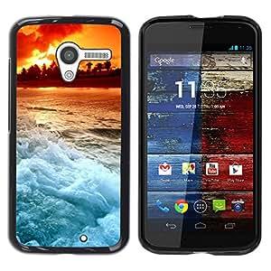 Caucho caso de Shell duro de la cubierta de accesorios de protección BY RAYDREAMMM - Motorola Moto X 1 1st GEN I - Sunset Beautiful Nature 103