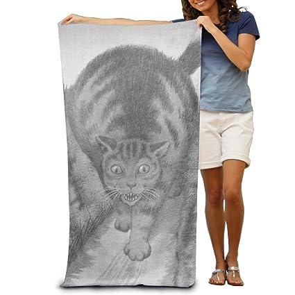 Amazon Com Cat Pencil Drawing Beach Towels Premium 100 Polyester