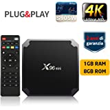 TV Box SUNNZO X96 Mini Android 7.1 4K Mini/Dispositivo streaming per TV con Amlogic S905W 64 Bit 1GB+8GB eMMC, Wifi, H.265 (1+8GB)