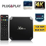 TV BOX SUNNZO X96 Mini Pro Android 7.1 4K Mini/Dispositivo streaming per TV con Amlogic S905W 64 Bit 1GB+8GB eMMC, Wifi, H.265 (1+8GB)
