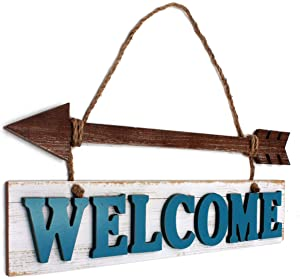 Funerom Welcome Wood Sign Rustic Wall Hanging Arrow Decor Farmhouse Wall Decor(16.9×5.7 inch)