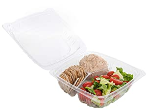 Smygoods Plastic Clamshell Take Out Food Containers, 3-Compartment, to go Containers, Hinged Food Container [50 Pack] Size: 8''x 8'' x 33/8''