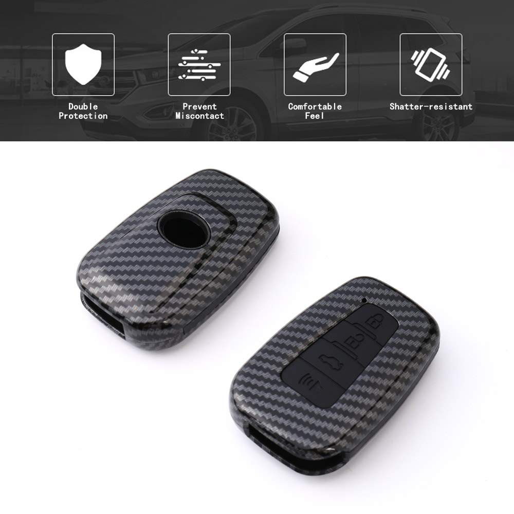 TANGSEN Smart Key Fob Case for Toyota Corolla Hatchback C-HR Prius RAV4 3 Button Keyless Entry Remote Personalized Protective Cover Plastic Carbon Fiber Pattern Black Silicone