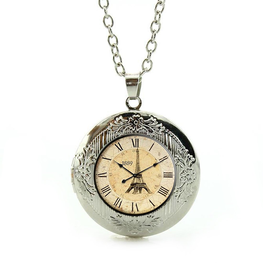 Women's Custom Locket Closure Pendant Necklace Retro Clock Included Free Silver Chain, Best Gift Set LooPoP KF-LSZBS-0015