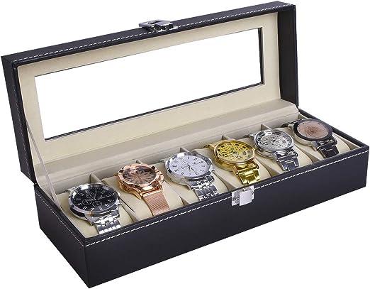 autoark piel 6 reloj caja de cristal top reloj pantalla caso ...