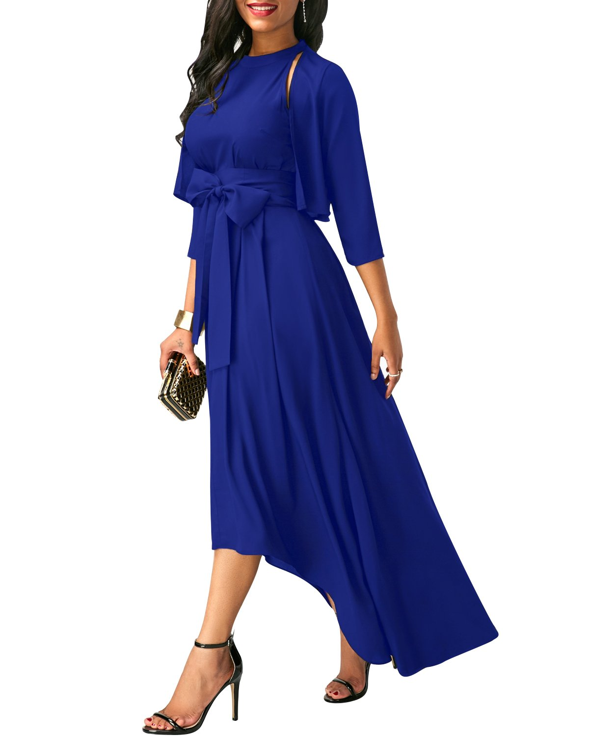 VIUVIU Bridesmaid Dress,Wedding Party Floral Ruched Dress Flowy Shift Dress with Jacket Blue XL