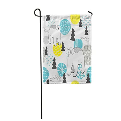 """Semtomn 28""""x 40"""" Garden Flag Blue Endless Pattern Winter Forest and White Bears"""