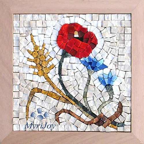 "DIY Mosaic craft kit for adults: Four Seasons Summer 9""x9"" - Wildflower wall art - One of a kind gifts for her - Unique mosaic decor - Mosaic supplies - Italian marble & Murano glass mosaic tiles from MyriJoy"