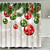 Christmas Shower Curtain Sets, Christmas Baubles and Ornaments on Pine Tree Twig Printing,Xmas Polyester Fabric Bathroom Shower Curtains for Decor,Green,Red,White,Brown 72 x 72 (Christmas C)