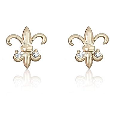 8635b5338 Amazon.com: 14K Yellow Gold Fleur-de-lis Simulated Diamond CZ Earrings:  Stud Earrings: Jewelry