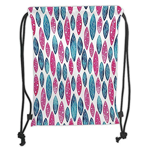 New Fashion Gym Drawstring Backpacks Bags,Abstract,Geometric Formless Pattern with Wavy Lines and Circle Dots Vibrant Watercolor,Dark Blue Pink Soft Satin,Adjustable String Closur