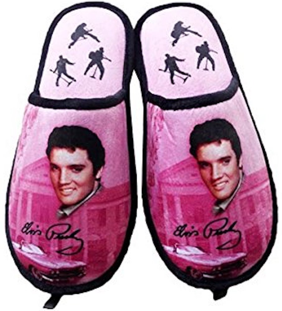 Elvis Presley Slippers Pink W/ Guitars - One Size Fits Most