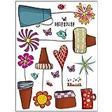 pegatinas de pared - TOOGOO(R) Pegatinas pared decorativas infantil Con el Estilo del Mural Maceta Flor y Mariposa para decoracion la sala , Sala de Juegos