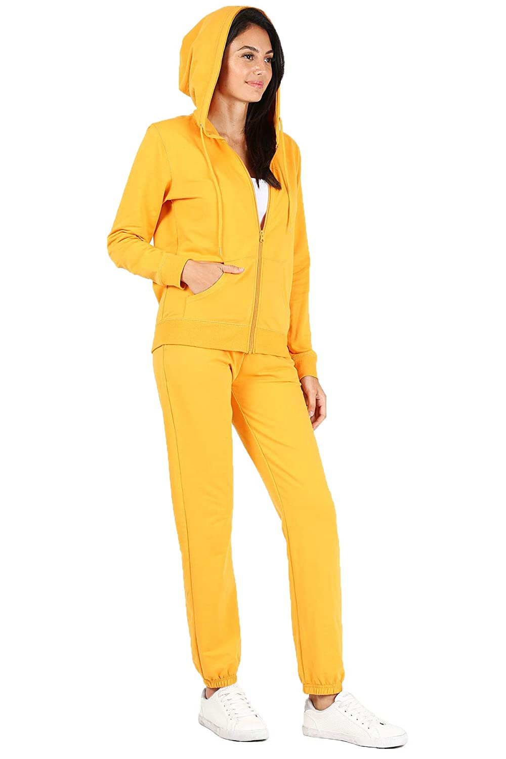 RouA Womens 2 Piece Active Sweatsuit Zip-Up Hoodie Sweatpants French Terry Jogger Tracksuit Set