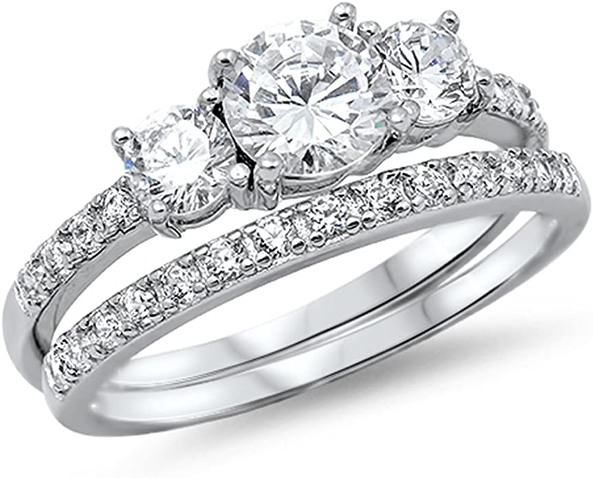 Beautiful Sterling silver 925 sterling SS Rhodium-Plated CZ Brilliant Embers 2 Piece Wedding Ring Set