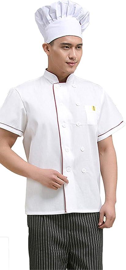 WYCDA Camisa de Cocinero Cocina Uniforme Manga Corta Sección Delgada Transpirable Descontaminación Disfraz de Chef Apto para Hombres Y Mujeres,Whiteshortsleeve,XXXL: Amazon.es: Hogar