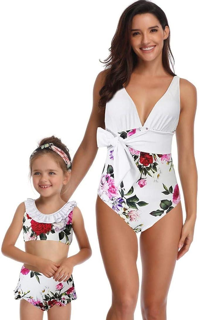 HEETEY Toddler Kids Baby Girl Swimsuit Ruffles Bathing Suit Bikini Striped Swimwear One Piece Swimming Costume Kids for Childs Pool Beach Holiday