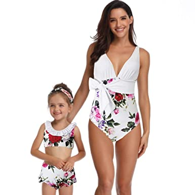28a7d2899e12e Mommy and Me Swimsuits High Waisted Family Matching One Piece Swimwear Baby  Girls Floral Printed Bikini