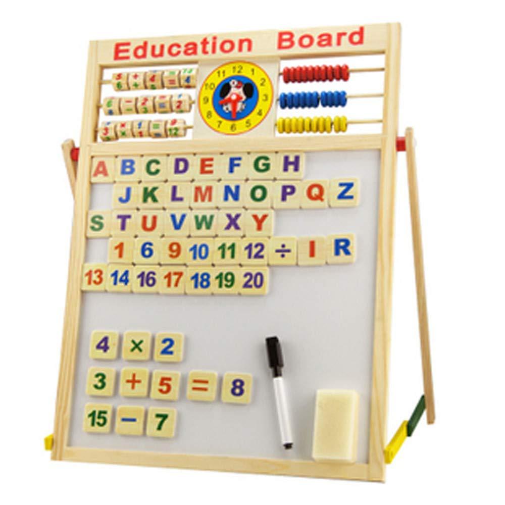 Cavalletto per bambini Lavagna   Lavagna bianca, robusta, doppia faccia, regolabile, spugna magnetica, pennarello e lettere maiuscole e numeri, Abacus - Toddler Learning Game Tavolo da disegno perfett
