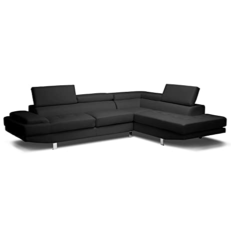 Baxton Studio Selma Leather Modern Sectional Sofa Black  sc 1 st  Amazon.com : sectional sofa amazon - Sectionals, Sofas & Couches