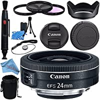 Canon EF-S 24mm f/2.8 STM Lens 9522B002 + 52mm 3 Piece Filter Kit + Lens Cleaning Kit + Lens Pouch + 52mm Tulip Lens Hood + Fibercloth Bundle